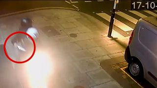 Moped murderers chase victim with knife.