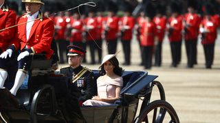 The Duke and Duchess of Sussex arrive at Trooping the Colour parade