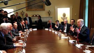 U.S. President Trump discusses immigration policy during a Cabinet meeting at the White House in Washington