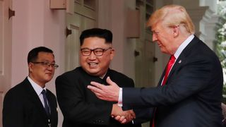 Donald Trump and Kim Jong Un struck an optimistic tone at the start of the summit