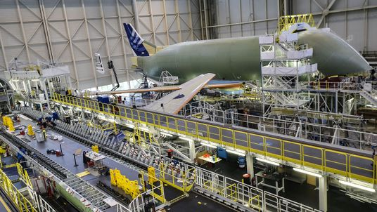 The assembly line of the Airbus Beluga XL large transport aircraft is pictured on March 20, 2018 in Blagnac, near Toulouse, southwestern France