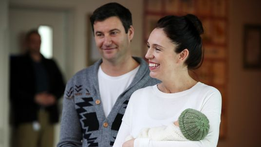 New Zealand Prime Minister Jacinda Ardern and partner Clarke Gayford pose for a photo with their new baby girl on June 24, 2018 in Auckland, New Zealand. Prime Minister Ardern is the second world leader to give birth in office, and the first elected leader to take maternity leave. Arden will take six weeks of leave with Deputy Prime Minister Winston Peters assuming the role of Acting Prime Minister