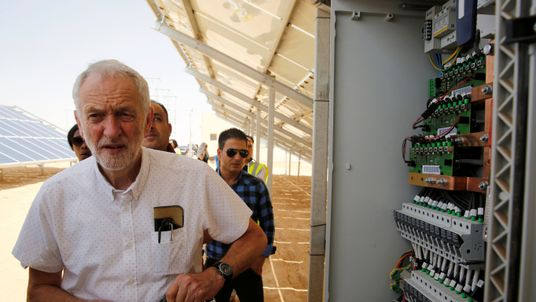 Britain's opposition leader Jeremy Corbyn visit a solar power plant during his visit to Al Zaatari refugee camp, in the Jordanian city of Mafraq, near the border with Syria, June 22, 2018. REUTERS/Muhammad Hamed