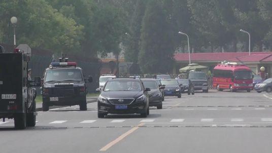 The motorcade in Beijing believed to be carrying Kim Jong Un
