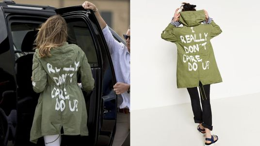 Melania Trump pictured wearing the Zara jacket. Right pic: Zara