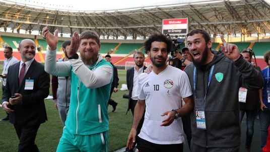 Mo Salah (right) and Ramzan Kadyrov seen together during training of Egyptian team in Grozny