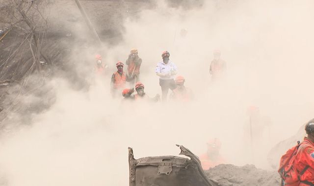 Firefighters Buried Under Tonnes Of Volcanic Ash In Guatemala
