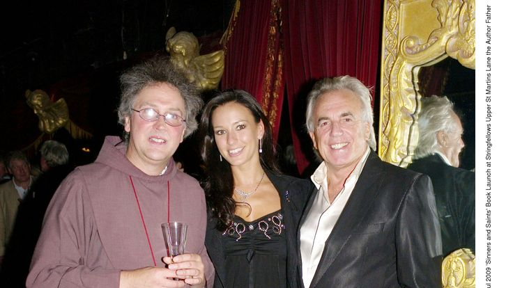 'Sinners and Saints' book launch at Stringfellows. Author Father Michael Seed with Peter Stringfellow and His Wife Bella Wright, 2009