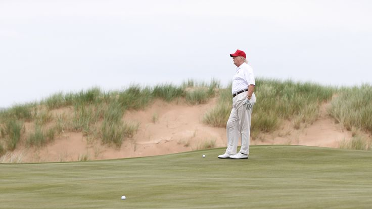 Donald Trump playing on his Scottish golf course in 2012