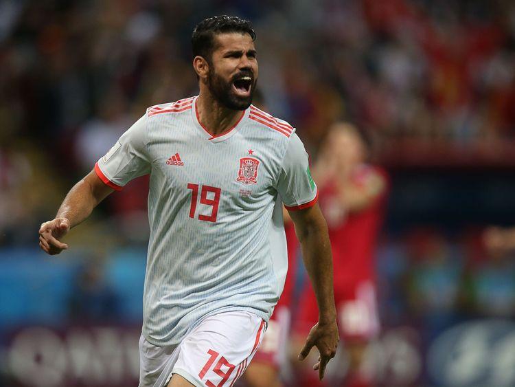 Diego Costa feiert, nachdem er Spanien die Führung gegeben hat