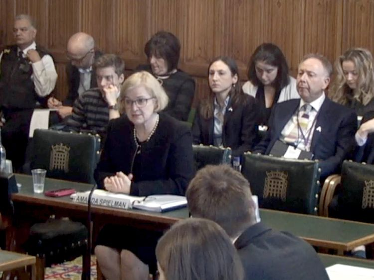 Amanda Spielman speaks to a committee of MPs