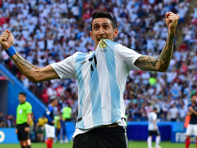 Angel Di Maria celebrates his stunning goal against France