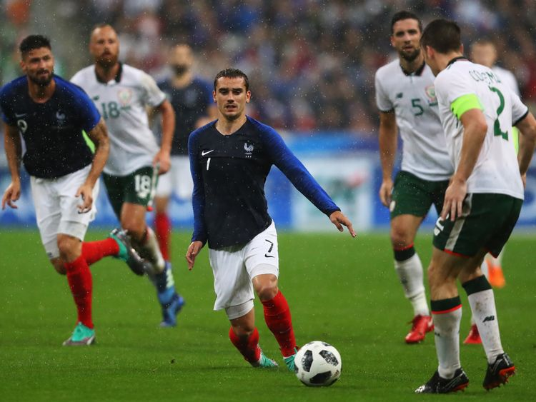 Antoine Griezmann in action during the International Friendly match between France and Ireland at Stade de France on 28 May