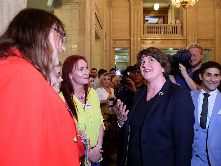 Arlene Foster (right) in conversation with Adrianne Elson (left) and Alicia Perry from Trans Pride NI