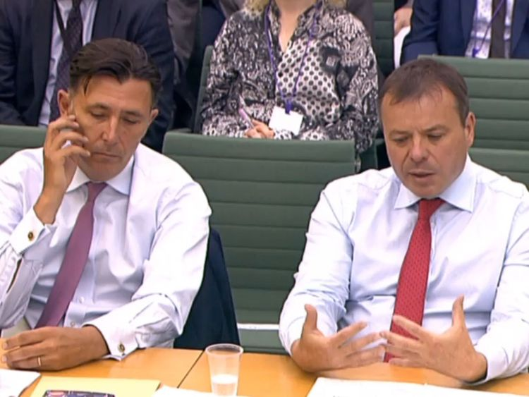 Andy Wigmore (left) and Arron Banks of Leave.EU give evidence to the Digital, Culture, Media and Sport Committee inquiry into fake news. PRESS ASSOCIATION Photo. Picture date: Tuesday November 25, 2014. See PA story POLITICS FakeNews. Photo credit should read: PA Wire
