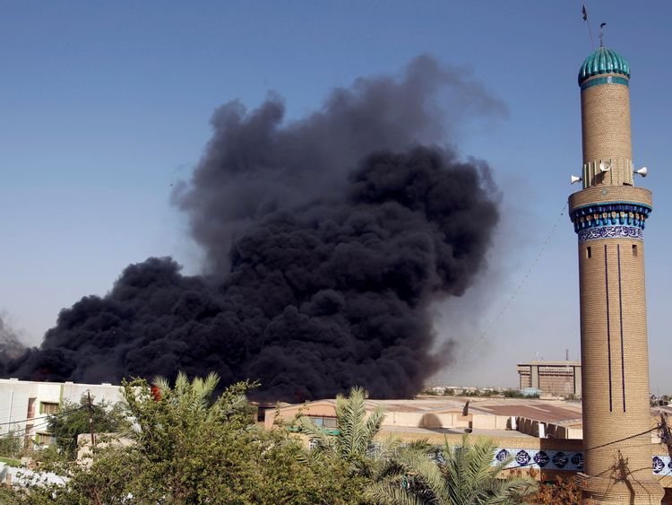 Smoke was seen rising above Baghdad