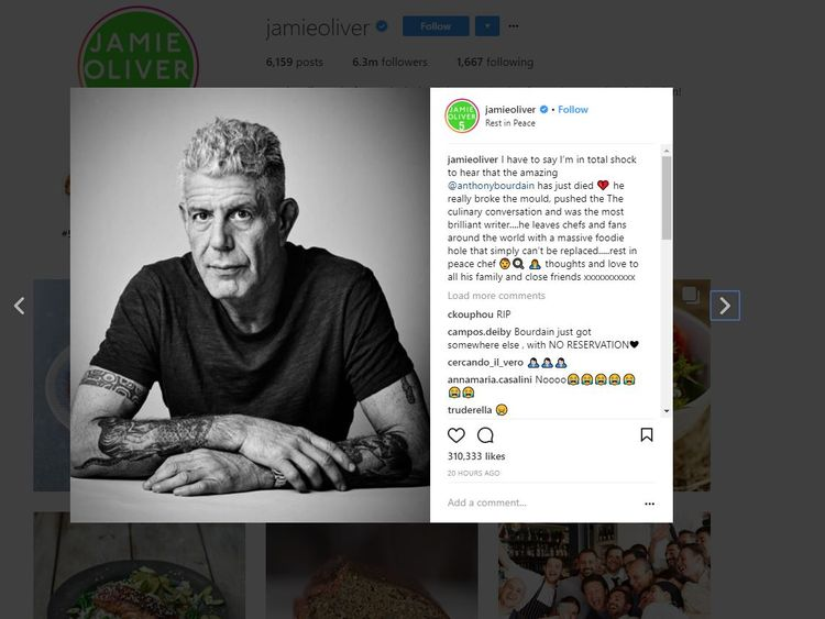 Jamie Olivr said Bourdain 'broke the mould'