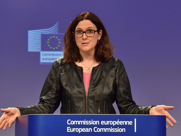 European Commissioner Cecilia Malmstrom holds a news conference in Brussels, Belgium March 7, 2018. REUTERS/Eric Vidal/File Photo