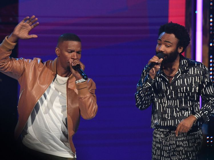 Glover joined Jamie Foxx on stage at the BET Awards