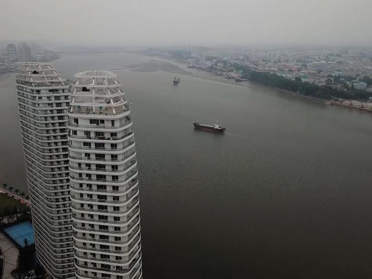Apartments in Dandong compared with the less-developed North Korean side of the river