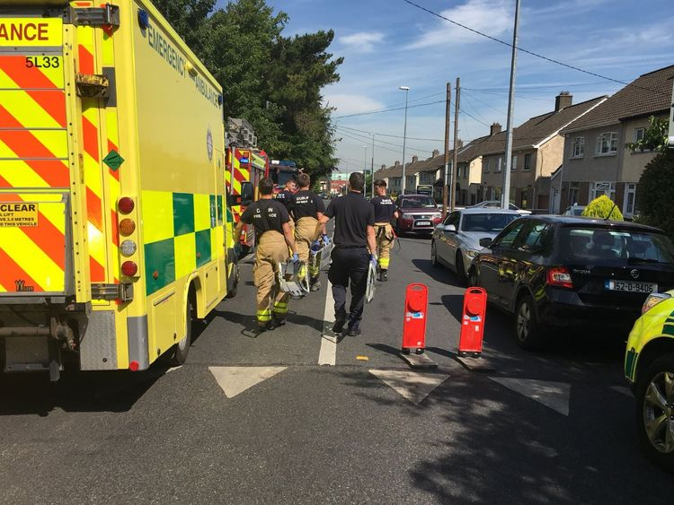 Emergency service vehicles are on the scene. Pic: Robin Schiller/Independent.ie