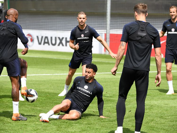 The England team training for their friendly against Costa Rica