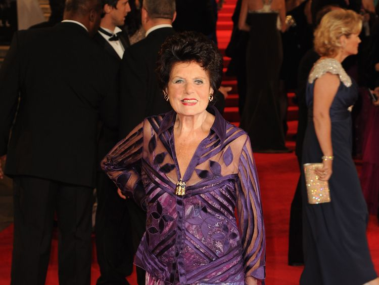 LONDON ENGLAND- OCTOBER 23 Eunice Gayson attends the Royal World Premiere of 'Skyfall&#39 at the Royal Albert Hall