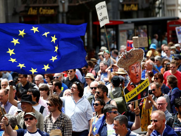 Tens of thousands march in London demanding second Brexit vote