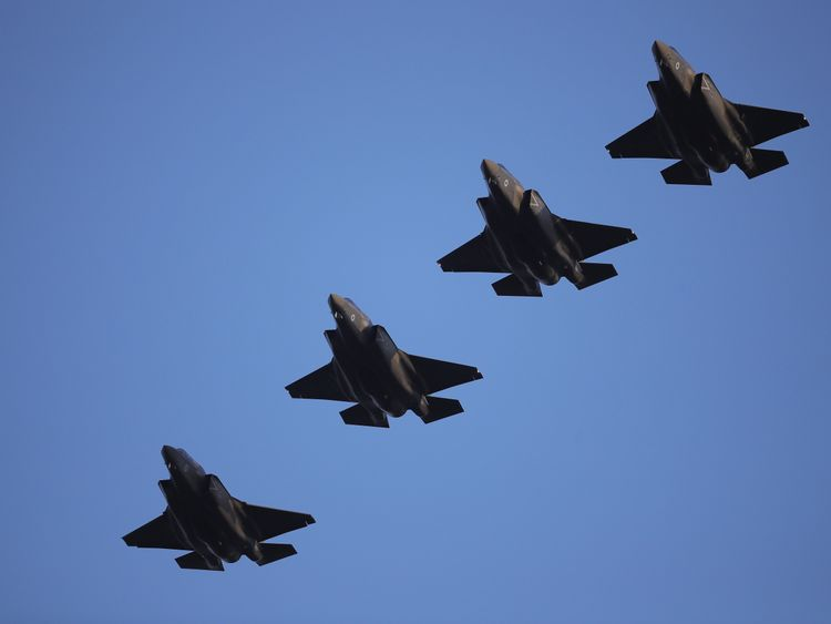 The four F-35 stealth jets are the first of the reformed 617 Squadron