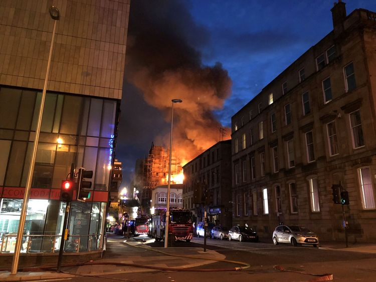 The fire happened in a bustling part of the Scottish city