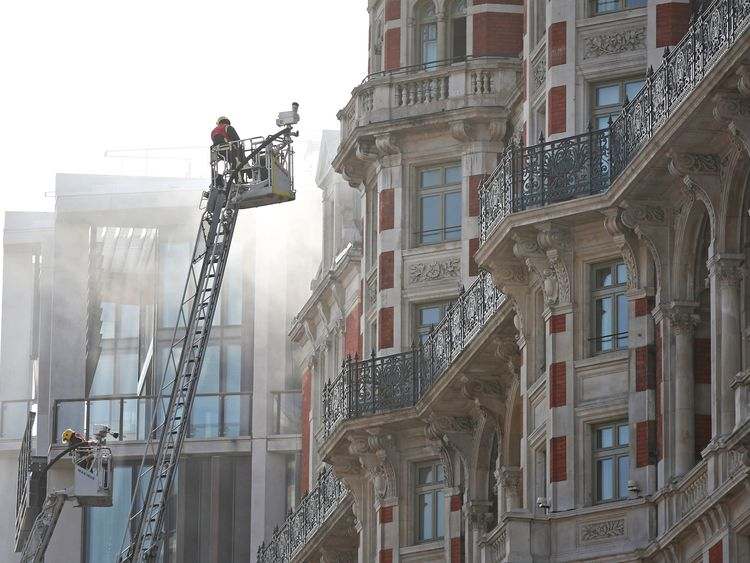 Firefighters At The Mandarin Oriental Hotel In Knightsbridge Central London As Fire Brigade