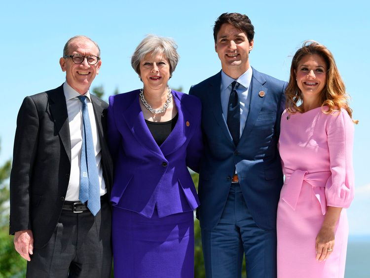 Theresa May and her husband Philip with Justin Trudeau and his wife Sophie Gregoire, at the G7 summit in Canada