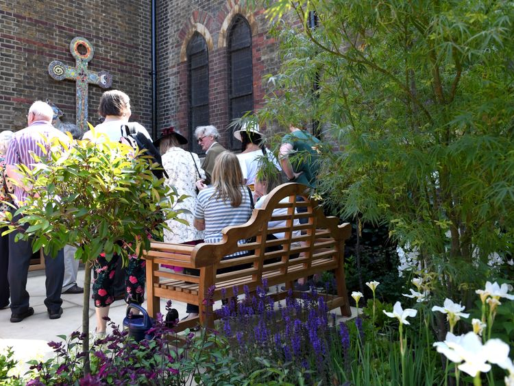 A small service was held for the opening of a Grenfell memorial garden at St Clement's Church, Notting Dale
