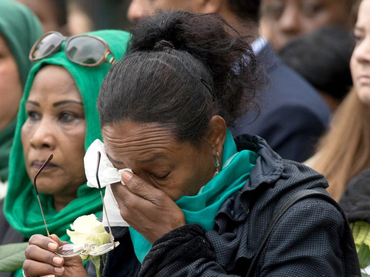 Families of victims of the Grenfell Tower disaster attend a service at the base of the Grenfell Tower in west London to mark a year since the devastating fire which claimed 72 lives. PRESS ASSOCIATION Photo. Picture date: Thursday June 14, 2018. See PA story MEMORIAL Grenfell. Photo credit should read: Stefan Rousseau/PA Wire