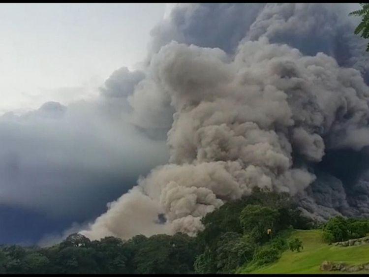 The Volcán de Fuego sent a column of smoke and ash into the sky