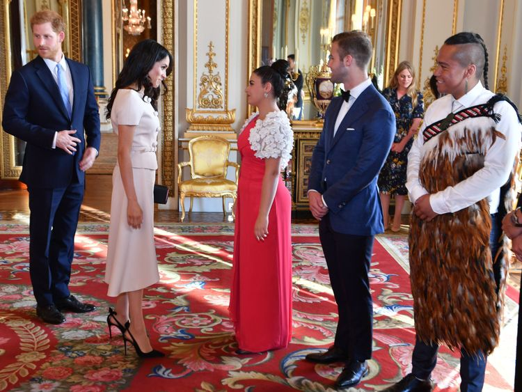 The Duke and Duchess of Sussex during a reception at the Queen's Young Leaders Awards Ceremony