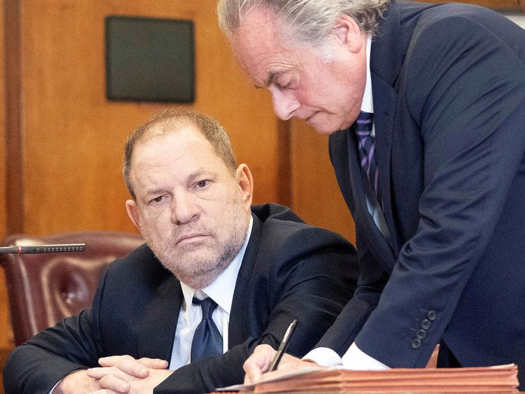 Film producer Harvey Weinstein sits with his lawyer Benjamin Brafman inside Manhattan Criminal Court during his indictment in Manhattan in New York, U.S., June 5, 2018. Steven Hirsch/Pool via REUTERS