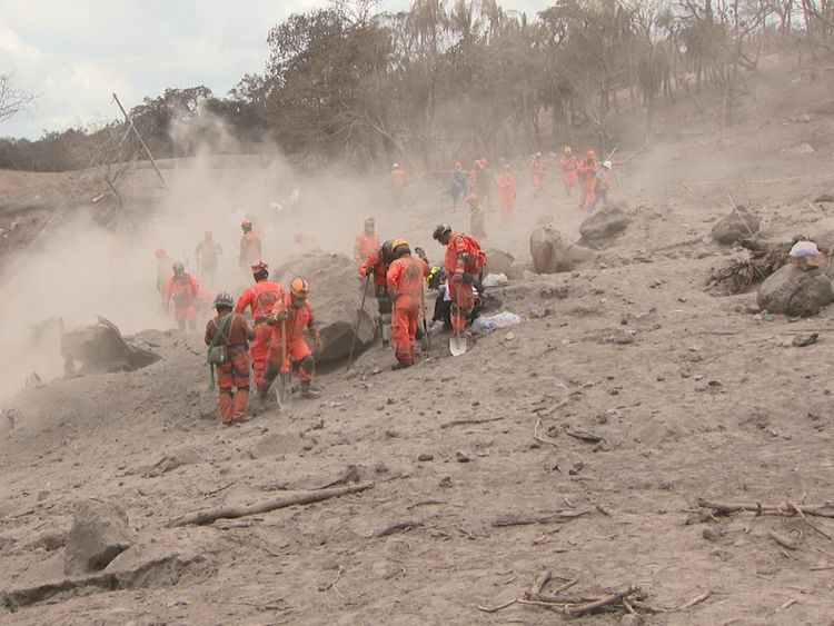 Firefighters buried under tonnes of volcanic ash