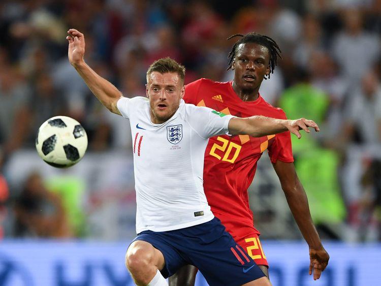 England striker Jamie Vardy vies with Belgium defender Dedryck Boyata