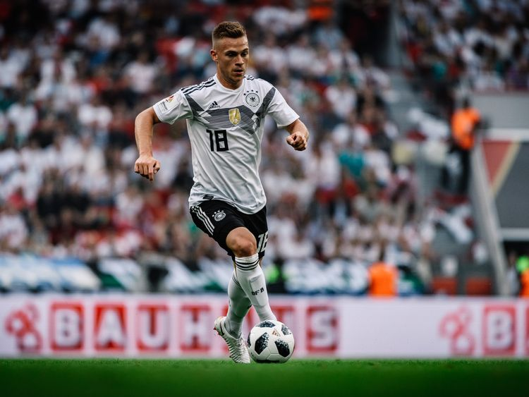 LEVERKUSEN, GERMANY - JUNE 08: (EDITORS NOTE: Image has been processed using a digital filter) Joshua Kimmich of Germany in action during the international friendly match between Germany and Saudi Arabia at BayArena on June 8, 2018 in Leverkusen, Germany. (Photo by Alexander Scheuber/Bongarts/Getty Images)