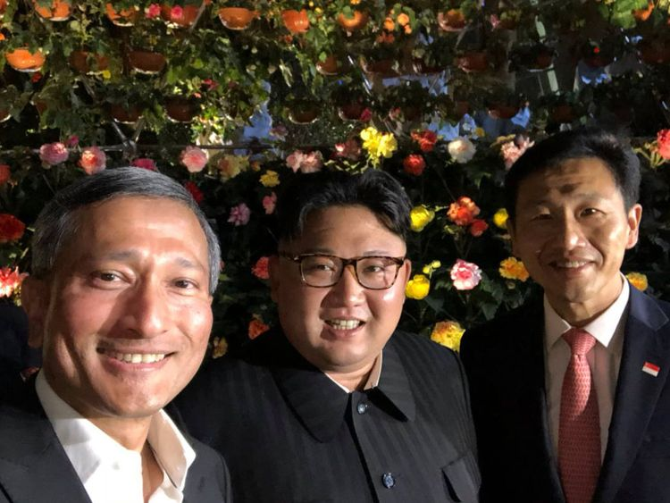 Kim Jong Un posed for a selfie with Singapore's foreign minister Vivian Balakrishnan