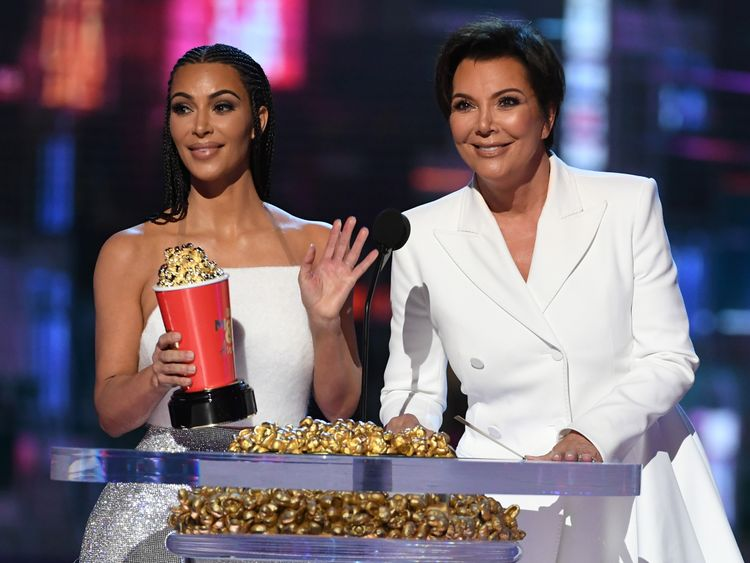 Kim Kardashian and  her mother Kris Jenner accept the Best Reality Series award for Keeping Up with the Kardashians