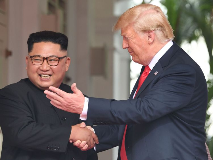 Mr Kim and Mr Trump appeared in high spirits as they met