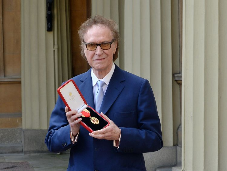 Kinks frontman Sir Ray Davies after he knighted by the Prince of Wales