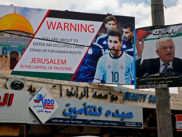 """A pro-Palestinian billboard in the West Bank pictures Messi and states: """"Stand up for human rights."""""""