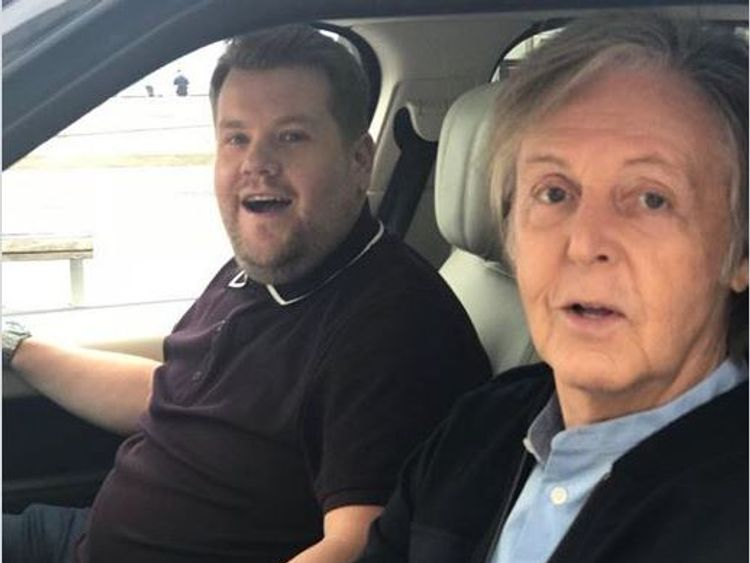 Drive my car? McCartney and Corden visit Liverpool