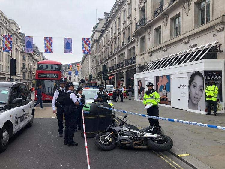 A police cordon was in place at the scene. Pic: Lucy Hough, LBC
