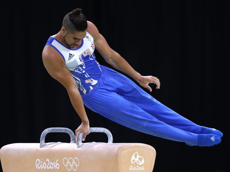 Louis Smith of Great Britain competes in the Men's Pommel Horse Final on Day 9 of the Rio 2016 Olympic Games at the Rio Olympic Arena on August 14, 2016 in Rio de Janeiro, Brazil. (Photo by Ryan Pierse/Getty Images)