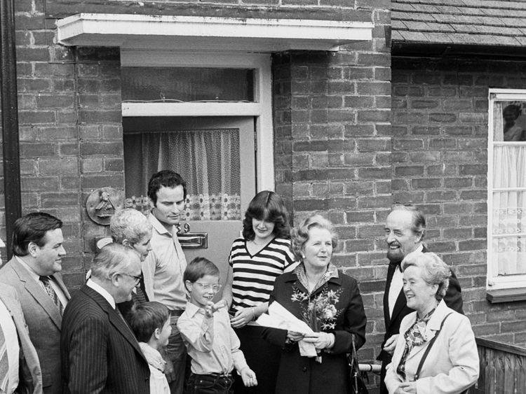 Margaret Thatcher handing over the deeds to a council house bought in Essex in 1980 under Right to Buy