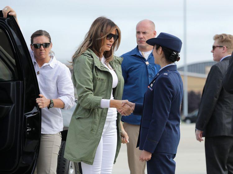 Melania Trump at Joint Base Andrews